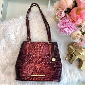 Brahmin Metallic Red Alligator Embossed Tote